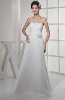 Strapless Criss-Cross A-Line Gown with Flower and Beading