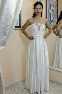 Strapless Lace and Satin Wedding Dress With Pleats