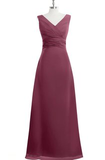 V-Neck Sleeveless Chiffon Empire A-Line Dress With Ruching