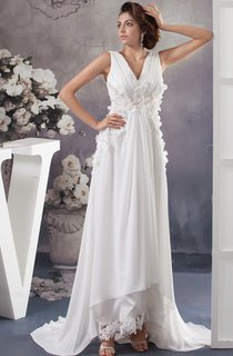 V-Neck Chiffon High-Low Dress with Ruching and Floral Waist