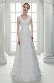 Plunged Sleeveless Lace A-Line Wedding Dress With Sweep Train