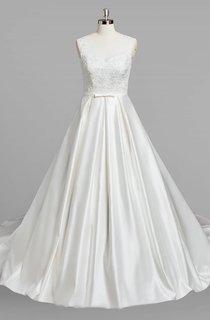 V-Neck Sleeveless A-Line Satin Wedding Dress With Beading