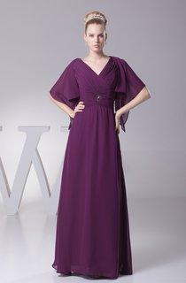 Plunged Criss-Cross Chiffon Maxi Dress with Broach and Bolero