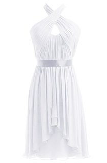 Sleeveless Halter Long Pleated Chiffon Dress With Sash