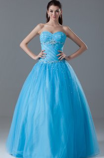 Sweetheart Jeweled Ball Gown with Ruching and Corset Back