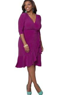 3 4 Sleeved Tea-length V-neck Ruffled Jersey Dress
