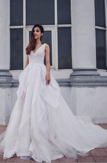 Tulle Lace Weddig Dress With Beading