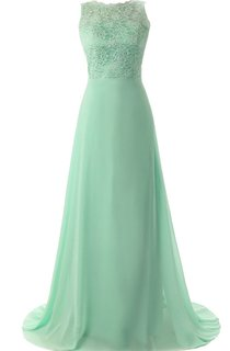 Lace Appliqued Bodice A-line Gown With Deep-v Back