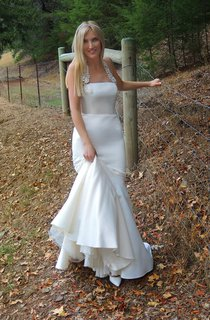 Halter Neck Satin Mermaid Wedding Dress With Embridering