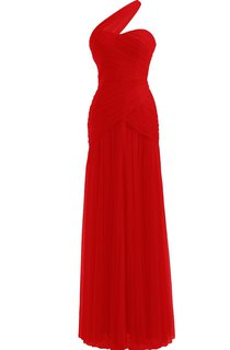 One-shoulder Ruching Chiffon Dress With Pleat
