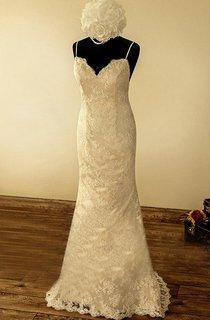 Spaghetti Sleeveless Backless Mermaid Long Lace Wedding Dress With Flower