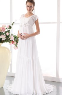 Chic Pleated Soft Flowing Fabric Gown With Floral Waistband