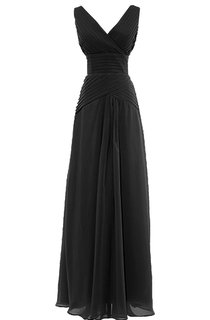 V-neckline Long Bridal Dress With Lace-up Back