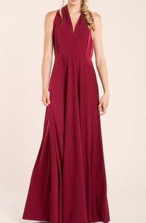 Short Sleeveless Wine Red Jersey&Satin Dress