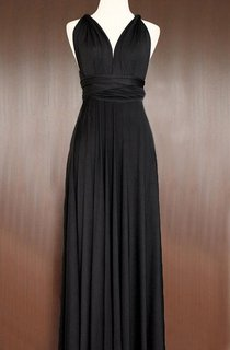 Maxi Length Black Bridesmaid Convertible Infinity Multiway Wrap Prom Long Dress