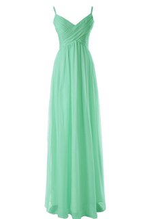Spaghetti Straps V-neck A-line Gown With Criss-cross