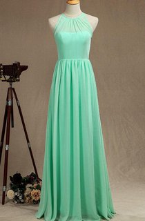 Mint Long Bridismaid Halter Chiffon Dress