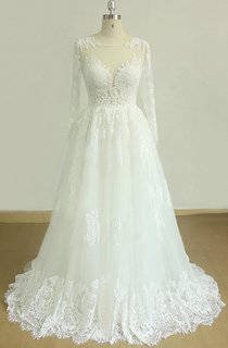 A-Line Tulle Lace Satin Weddig Dress With Keyhole Back