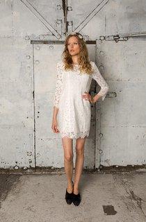 Bateau Neck Long Sleeve Boho Short Lace Wedding Dress