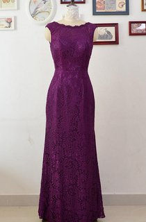 Floor-length Lace Dress With Illusion