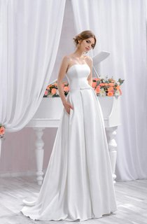 Long White Wedding A Silhouette Wedding Gown With Train Dress