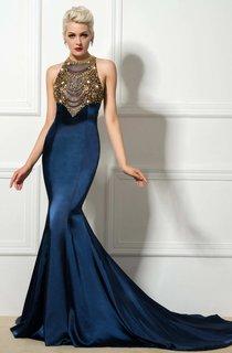 Sleeveless Beaded High Neck Mermaid Long Satin Dress