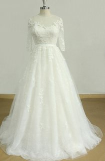 A-Line Tulle Lace Satin Dress With Beading Tiers Keyhole Back