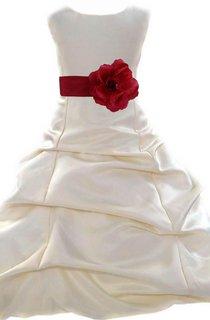 Cap-sleeved A-line Ruffled Dress With Flower Belt