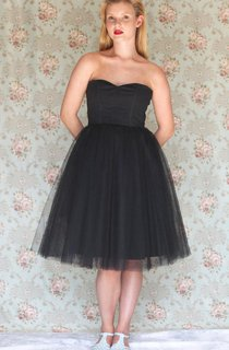 Tea-length Strapless Sweetheart Tulle Dress With Zipper
