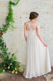 Sweetheart A-Line Long Chiffon Wedding Gown With Appliques