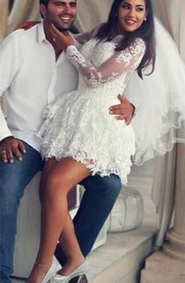 Delicate Lace Appliques Short White Homecoming Dress 2016 Long Sleeve