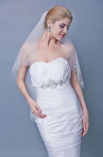 Two Tier Mid Length Veil With Floral Beaded Trim