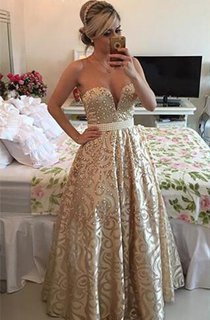 Modern V-neck Sleeveless Pearls Prom Dress 2016 Open Back Floor-length