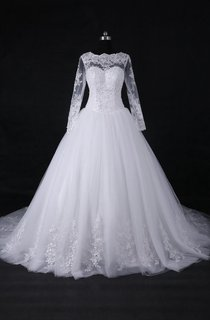 A-Line Ball Gown Long Sleeve Cathedral Train Tulle Lace Satin Dress