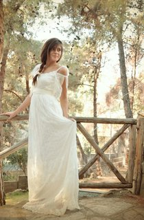 Boho Empire Backless Long Organza Wedding Dress With Sash And Scoop Neck