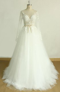 A-Line Long Sleeve Tulle Lace Satin Weddig Dress
