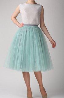 Grey Mint Tutu Skirt Tulle Tea Length Dress