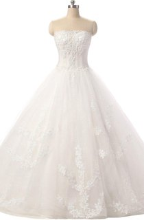 Ball Gown Strapped Tulle Lace Dress With Flower Lace-Up Back