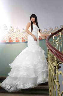 Strapless Mermaid Wedding Dress With Frilly Tulle Skirt and Beading Detailing