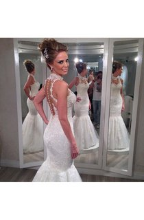 Charming Sleeveless Lace 2016 Wedding Dresses Mermaid Tulle Princess