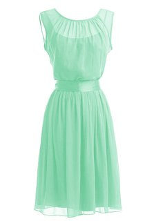 Cap-sleeve Scoop Chiffon A-line Gown With Sash