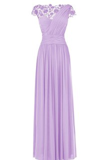 Cap-sleeve Ruched A-line Dress With Lace Appliques