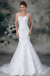 plunged mermaid sleeveless gown with low-v back and lace