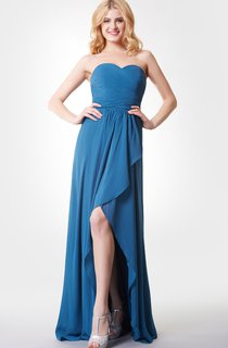 Sweetheart Backless High-low Chiffon Dress With Ruching