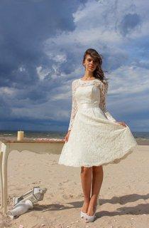 Jewel Neck Long Sleeve Lace Short Wedding Dress With Satin Sash
