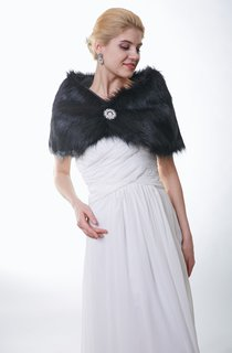 All Black Faux Fur Bridal Wrap With Crystal Brooch