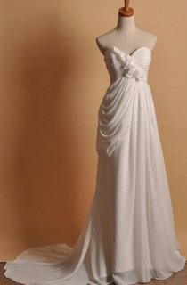 Elegant Chiffon A Line Wedding Bridal Gown With Long Train Dress