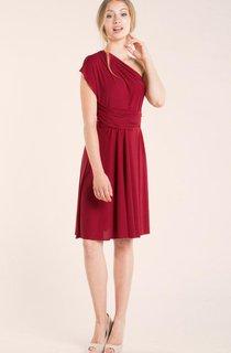 Short Knee-length Jersey and Satin Dress