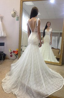 Deep-V Neck Sleeveless Lace Mermaid Wedding Dress With Long Train