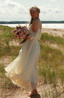 Spaghetti Boho Off-The-Shoulder Chiffon Lace Wedding Dress